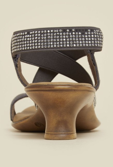 Mochi Grey Cross Strap Kitten Sandals