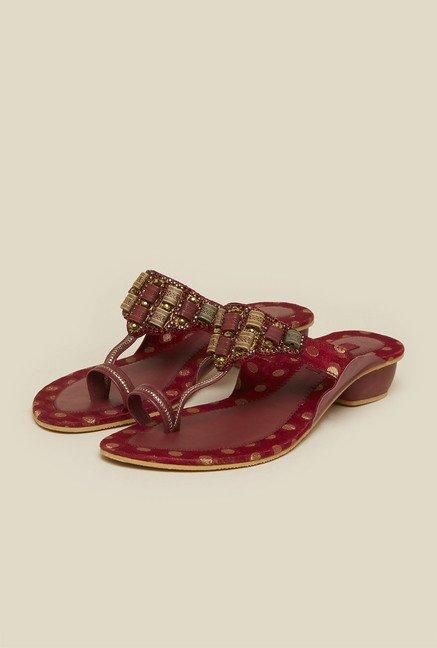 Mochi Maroon Diamond Embellished Sandals