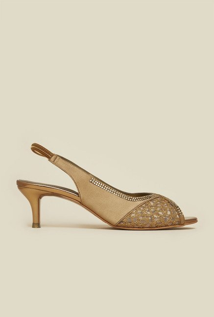 Mochi Antique Gold Back Strap Sandals