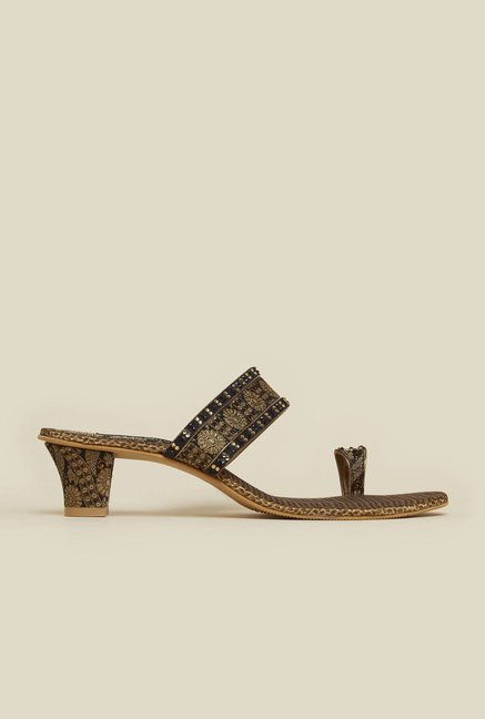 Mochi Black Diamond Embellished Sandals