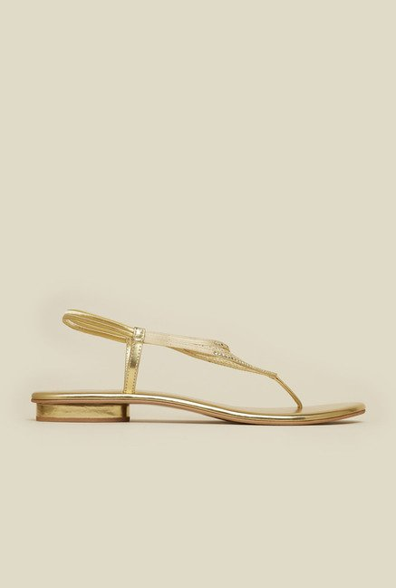Mochi Gold Diamond Embossed Sandals