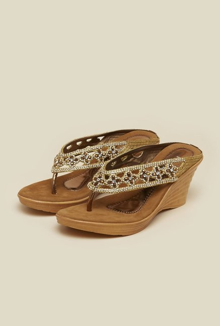 Mochi Antique Gold Diamond Studded Wedges