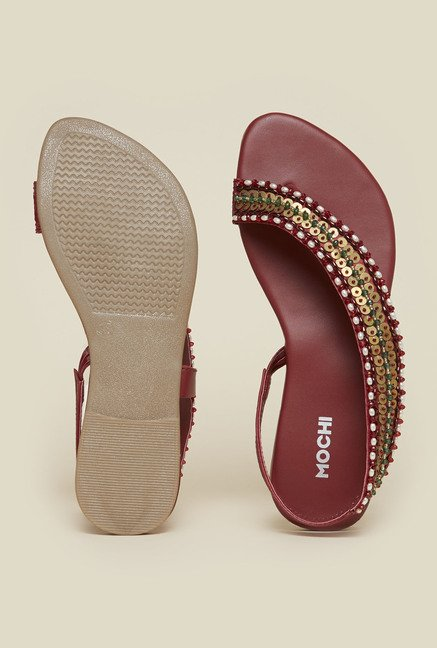 Mochi Maroon Back Strap Sandals
