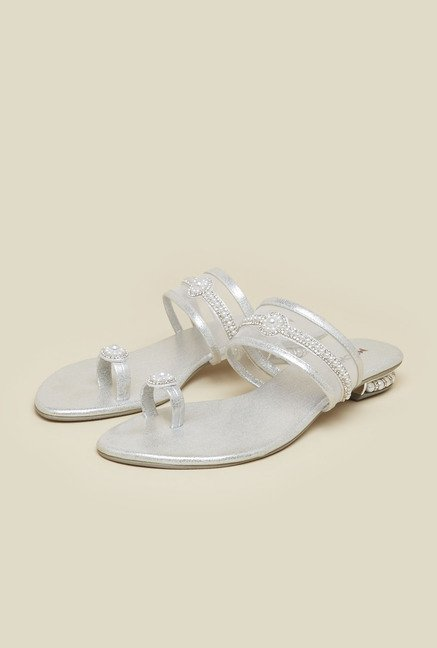 Mochi Silver Diamond Embellished Sandals