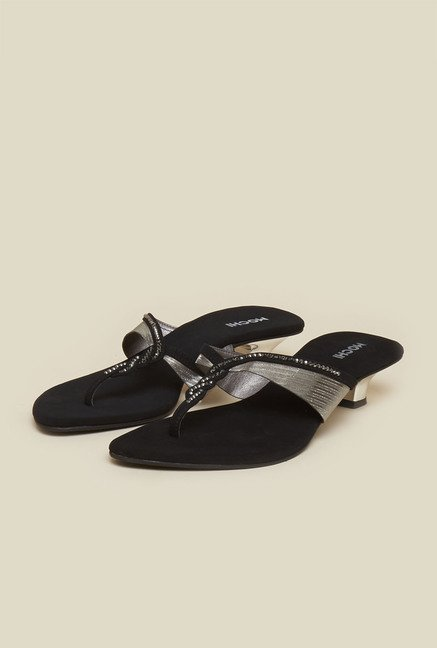 Mochi Black Block Heel Sandals