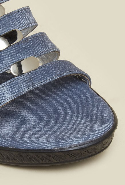 Mochi Blue Mule Wedge Sandals