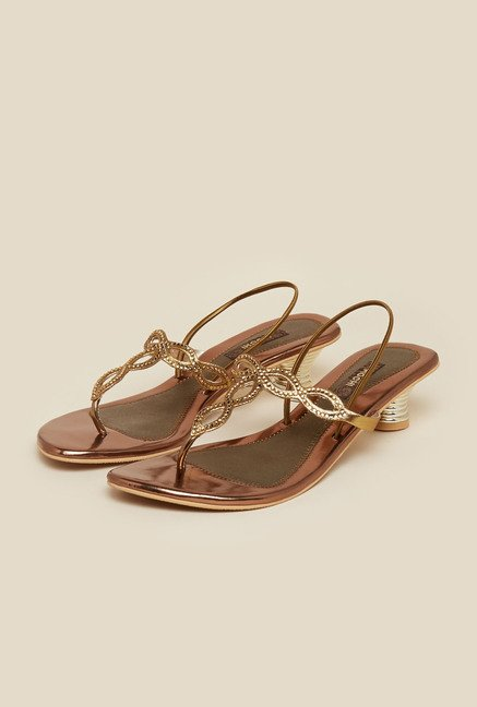 Mochi Antique Gold Diamond Embellished Sandals