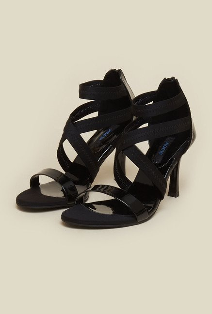 Mochi Black Cross Strap Stilettos