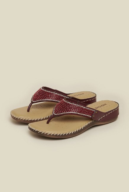 Mochi Maroon Leather Flat Sandals