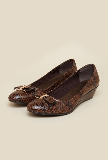 Mochi Brown Wedge Ballerina Shoes