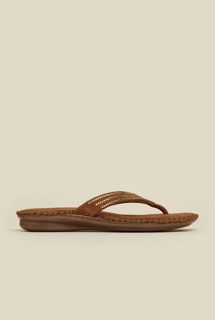 Mochi Tan Diamond Embossed Thongs