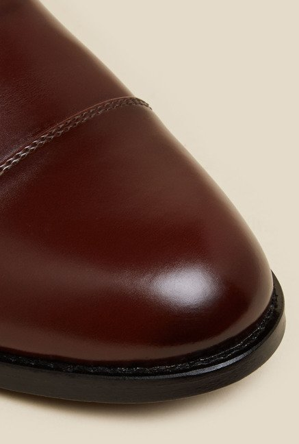 Mochi Maroon Leather Oxford Shoes