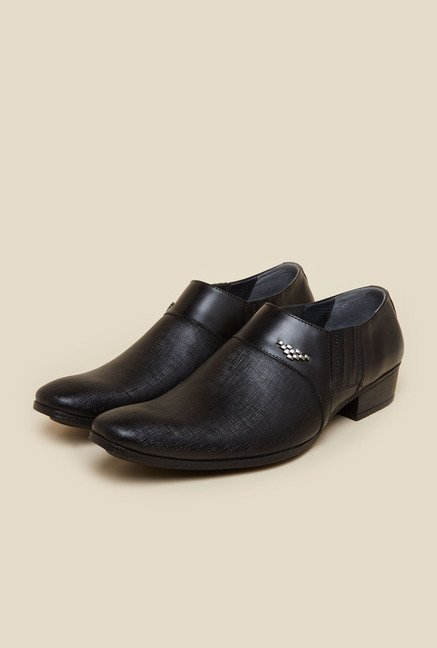 Mochi Black Formal Slip-On Shoes