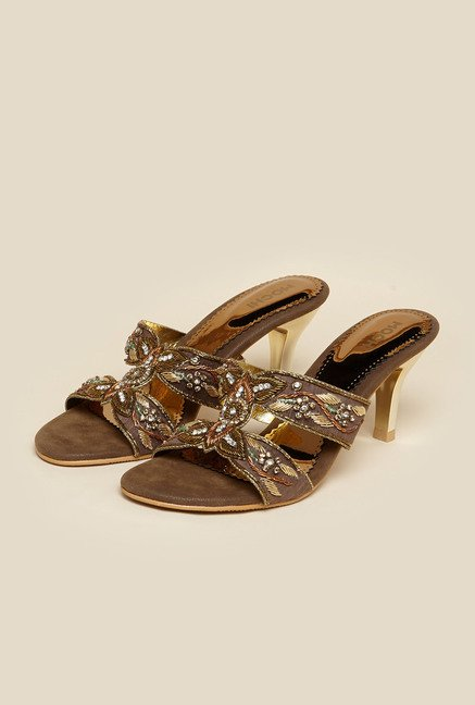 Mochi Antique Gold Cone Heel Sandals