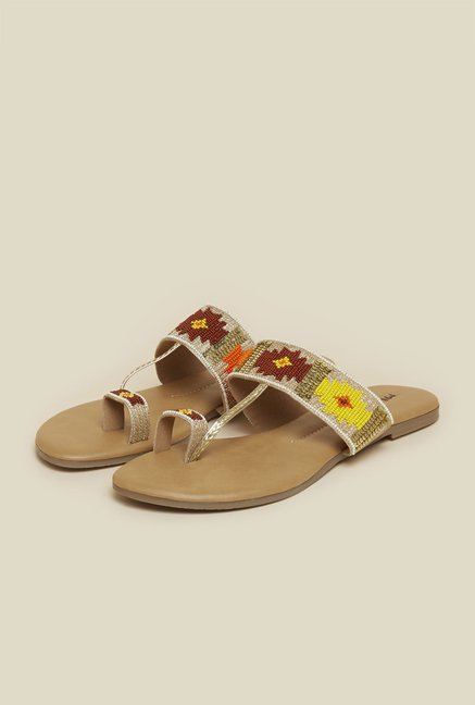 Mochi Multicolor T-Strap Ethnic Sandals