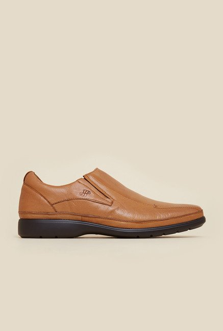 J. Fontini by Mochi Tan Leather Slip-Ons