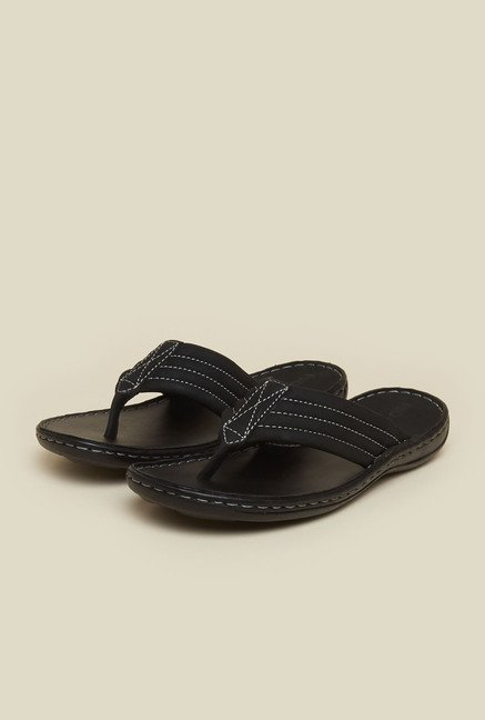 Mochi Black Leather Thong Sandals