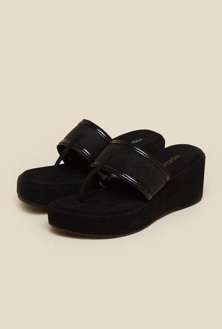 Mochi Black Glitter Wedges
