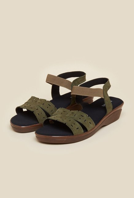 Mochi Olive Casual Wedge Sandals
