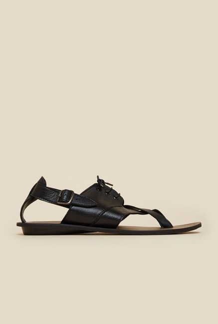 Mochi Black Leather Lace Sandals