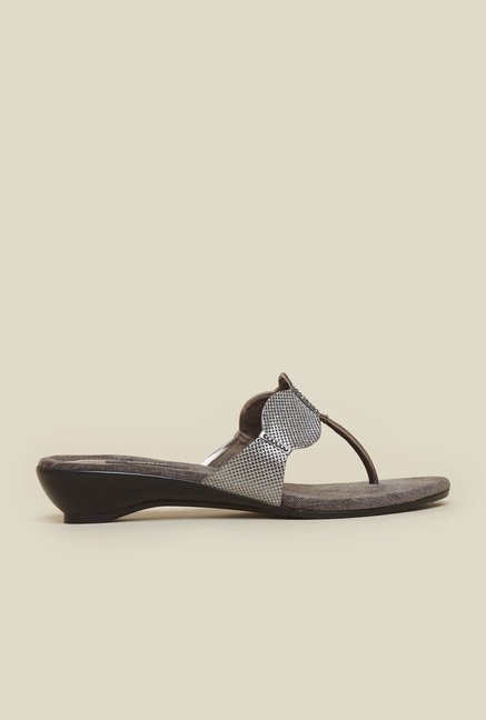 Mochi Gun Metal T-Strap Wedges