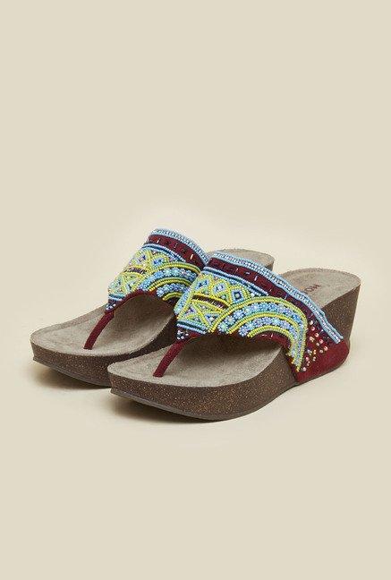 Mochi Maroon Beaded Platform Sandals