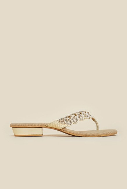 Mochi Beige Diamond Embossed Sandals