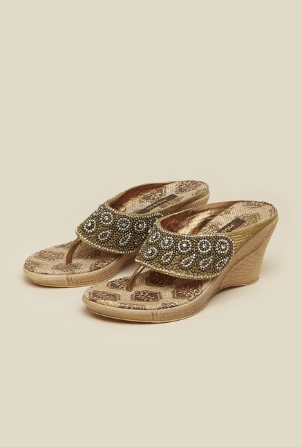 Mochi Antique Gold Beaded Wedges