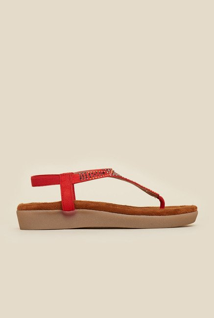 Mochi Red Back Strap Ethnic Sandals