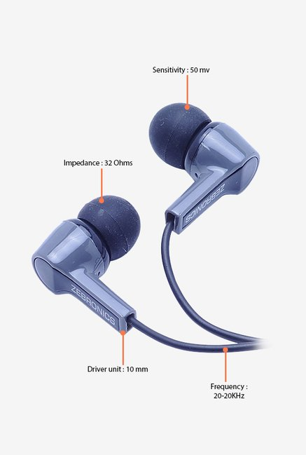 Zebronics EM 500 In The Ear Headphones Grey