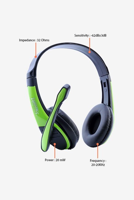 Zebronics Bolt Over The Ear Headsets Green