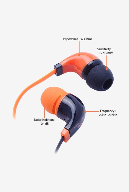 Zebronics EM 750 In The Ear Headphones Orange