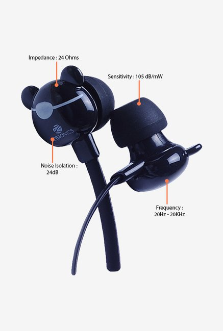 Zebronics Funky Bear In The Ear Headphones Black