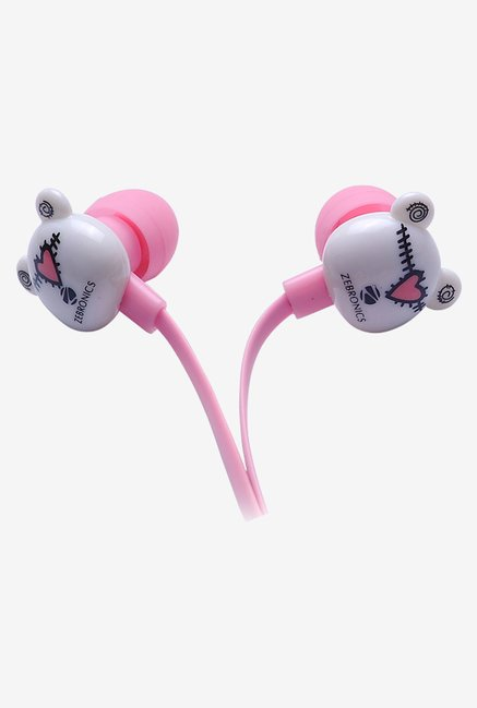 Zebronics Funky Bear In The Ear Headphones Pink