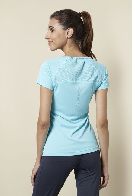 Lotto Aqua Blue Solid Sports T Shirt