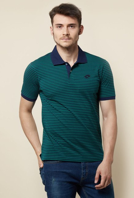 Lotto Dark Green Striped Polo T Shirt