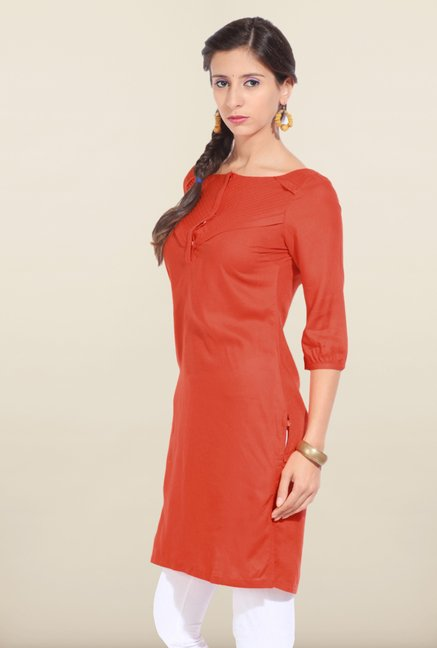 W Red Solid Kurta