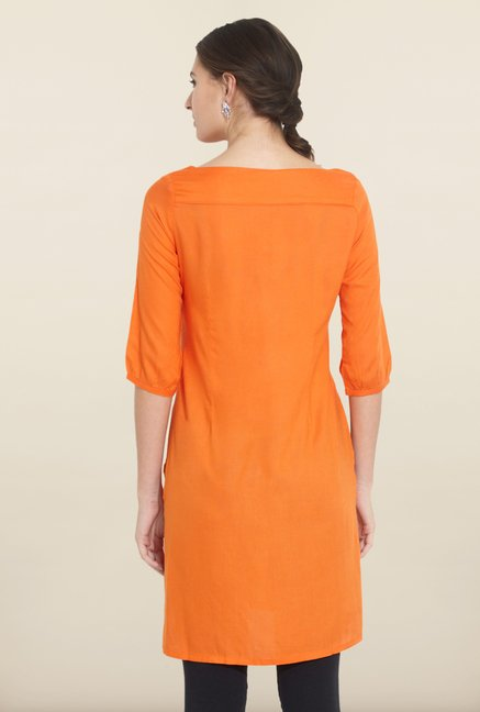 W Orange Solid Kurta