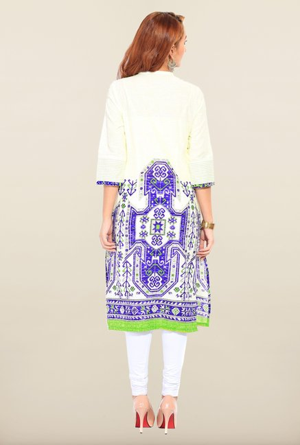 W Off White & Blue Kurta