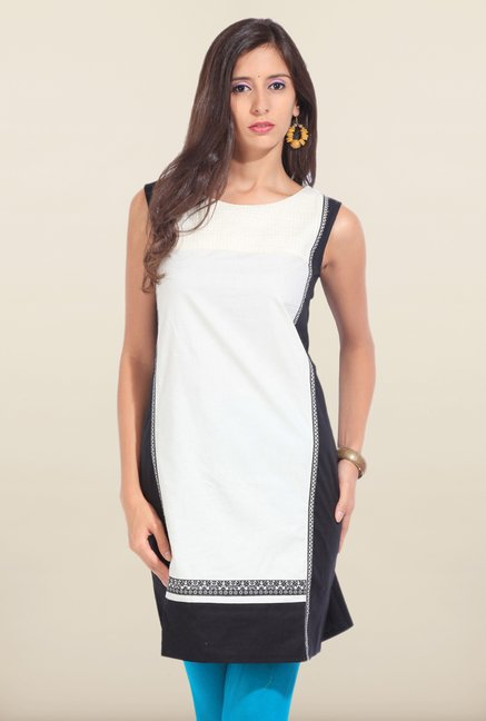 W White & Black Solid Sleeveless Kurta