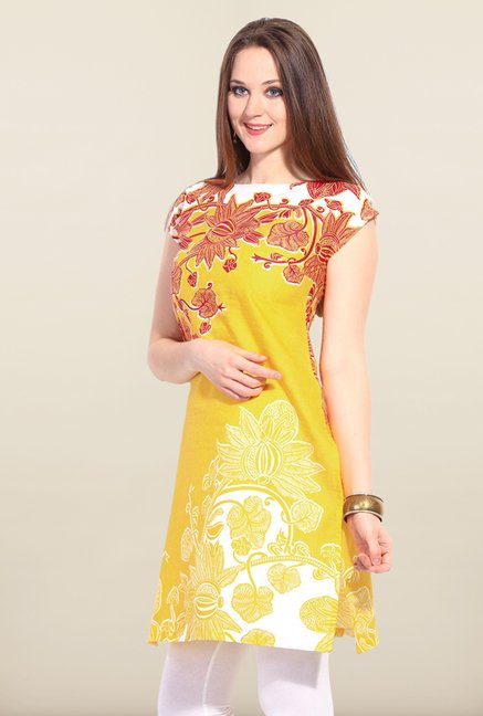 W Yellow Printed Cotton Kurta
