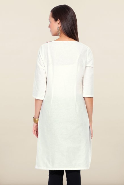 W White Printed Cotton Kurta