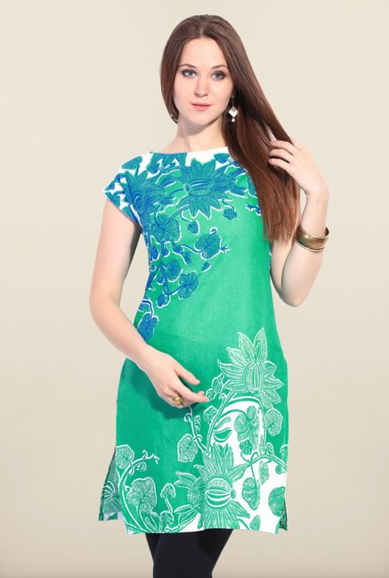 W Green Printed Cotton Kurta