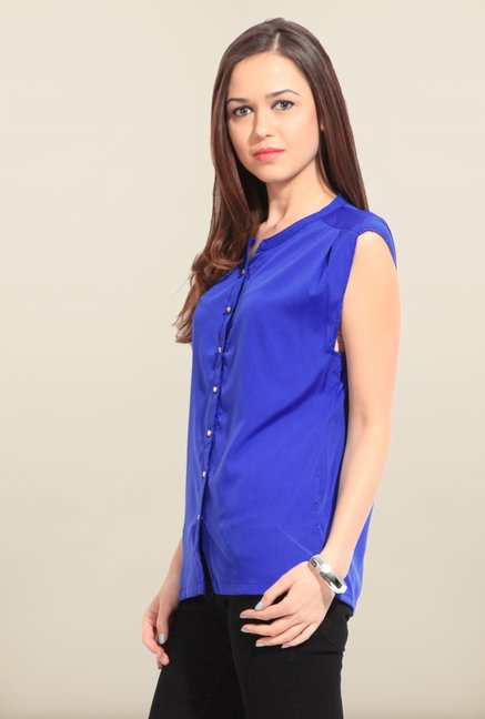 W Royal Blue Solid Tunic