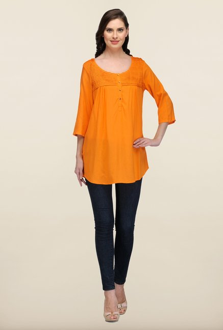 W Orange Solid Kurti