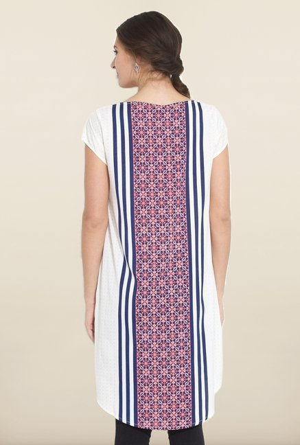 W White & Pink Printed Short Sleeves Kurta