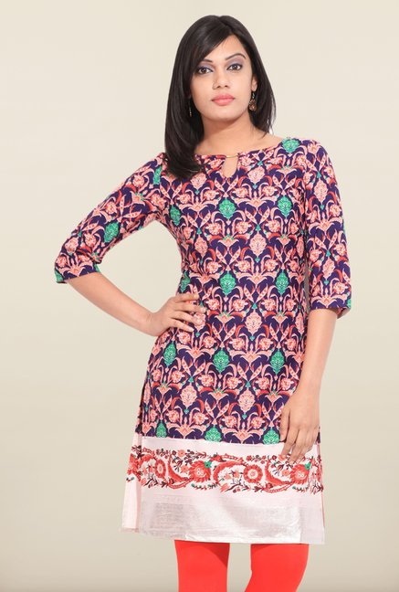 W Purple Printed Boat Neck Kurta