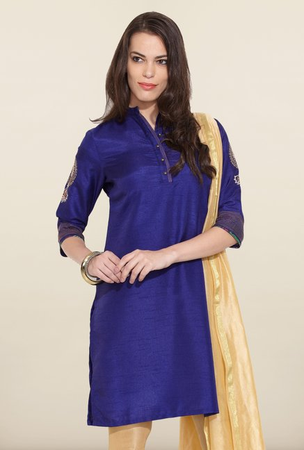 W Royal Blue Solid Kurta