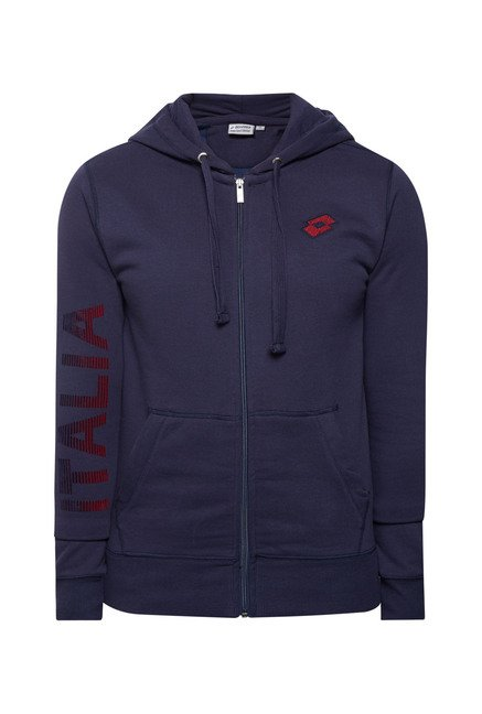 Lotto Navy Solid Cotton Hoodie
