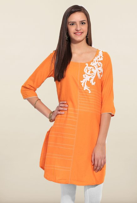W Orange Cotton Kurta